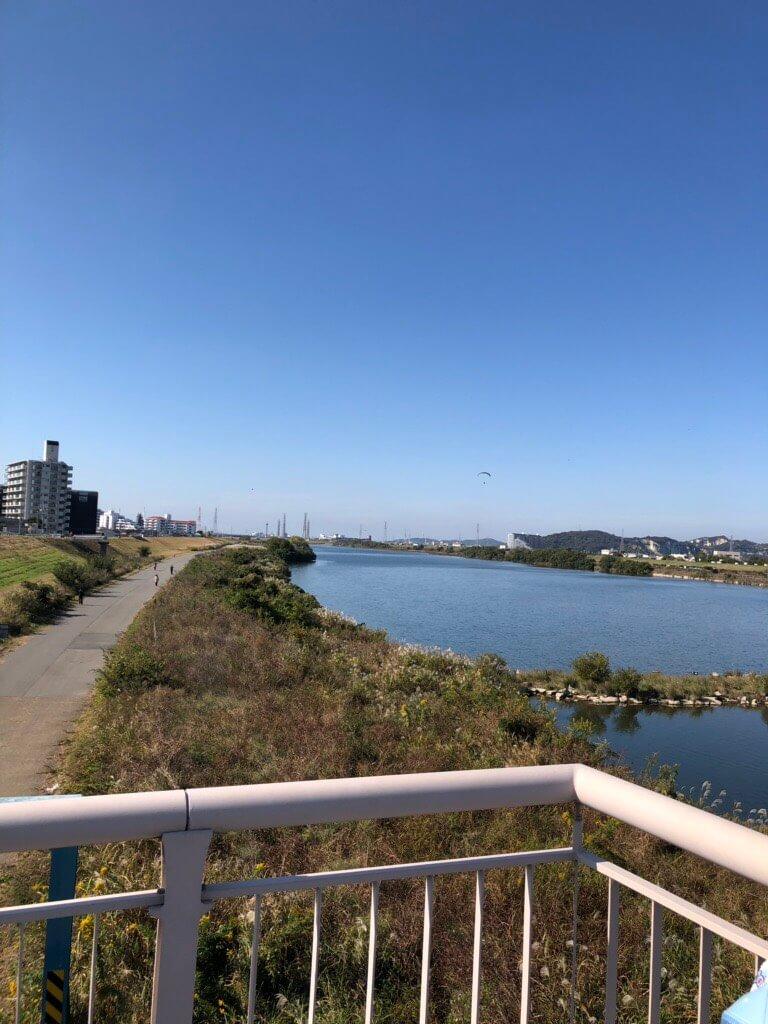 加古川上でのモーターパラグライダー