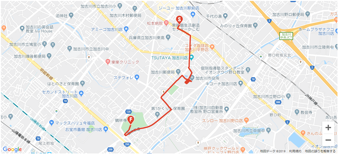 加古川市内の聖火リレー全体図