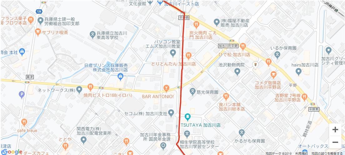 加古川市内の聖火リレーコース2