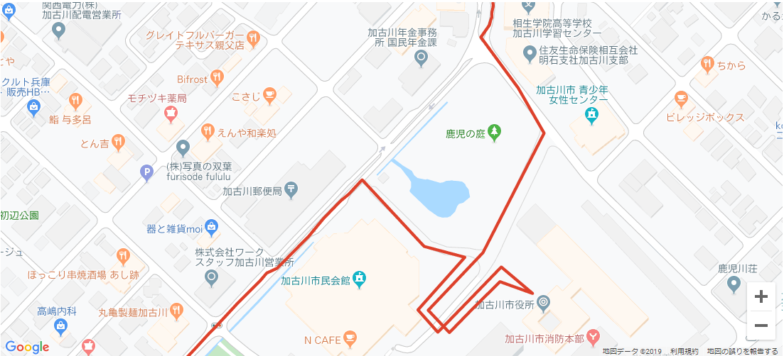 加古川市内の聖火リレーコース3