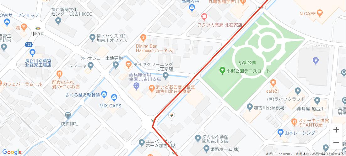 加古川市内の聖火リレーコース4