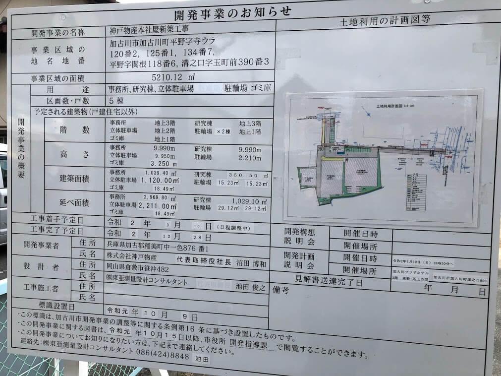 神戸物産本社屋工事の看板
