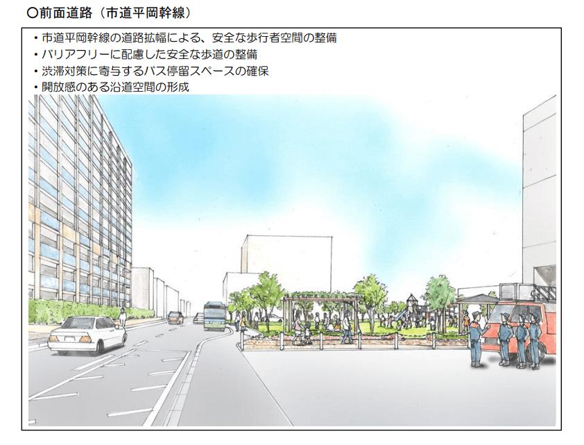 加古川東市民病院跡地の前面道路改良イメージ図