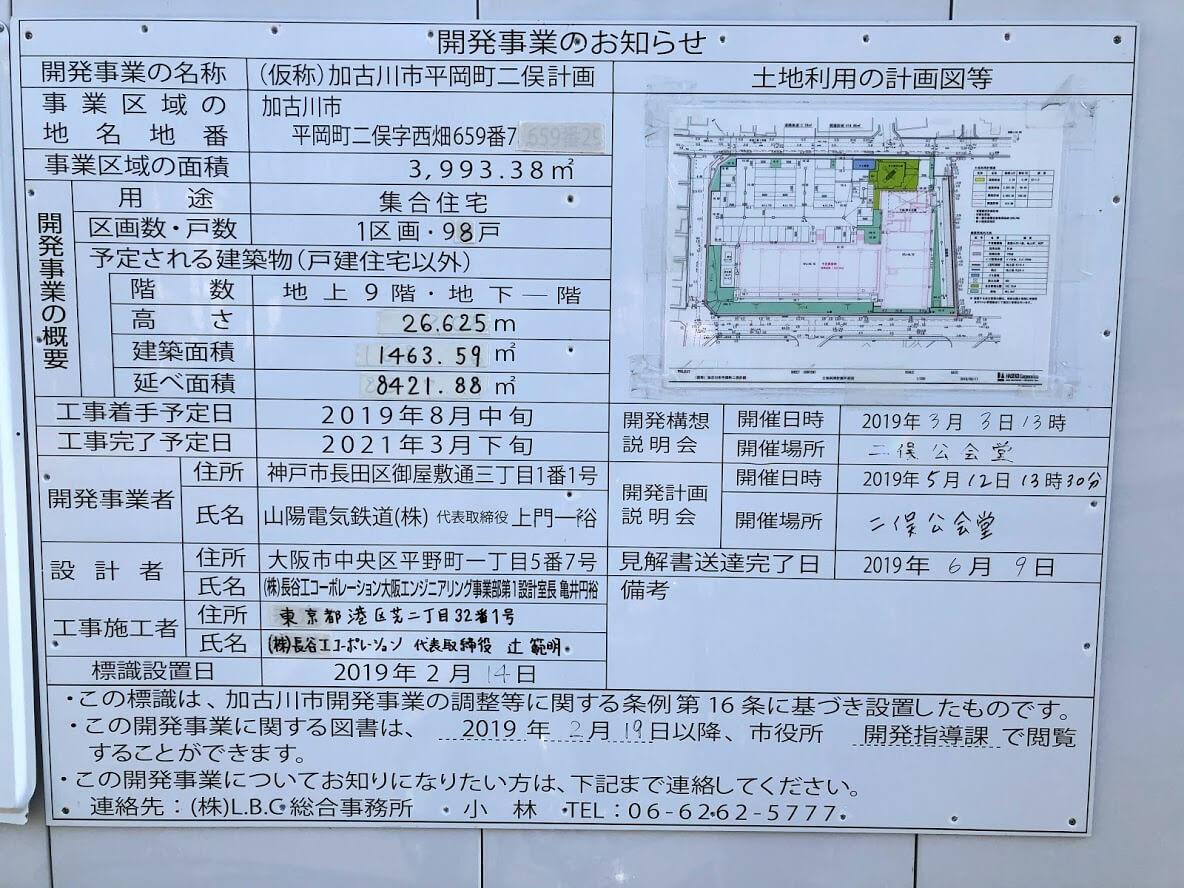 リアラス東加古川の開発事業のお知らせ看板