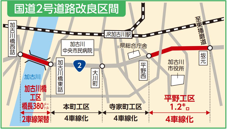 加古川の国道2号線道路改良区間