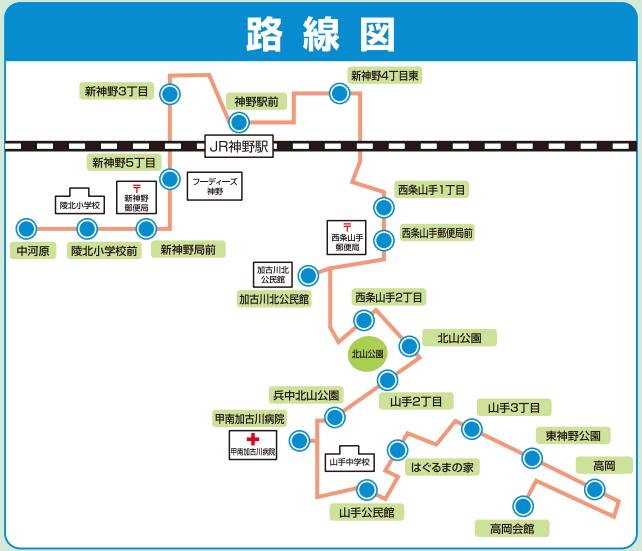 かこバスミニ山手ルート路線図