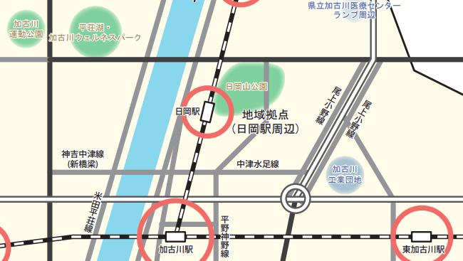 神吉中津線の橋がかかる予定地
