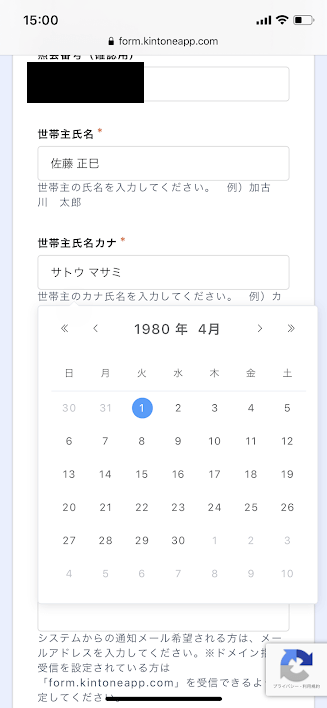 加古川市特別定額給付金Web申請システム名前と生年月日画面キャプチャ