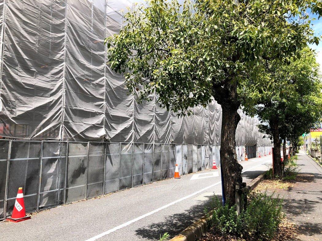 明姫幹線野口陸橋の補修工事の様子