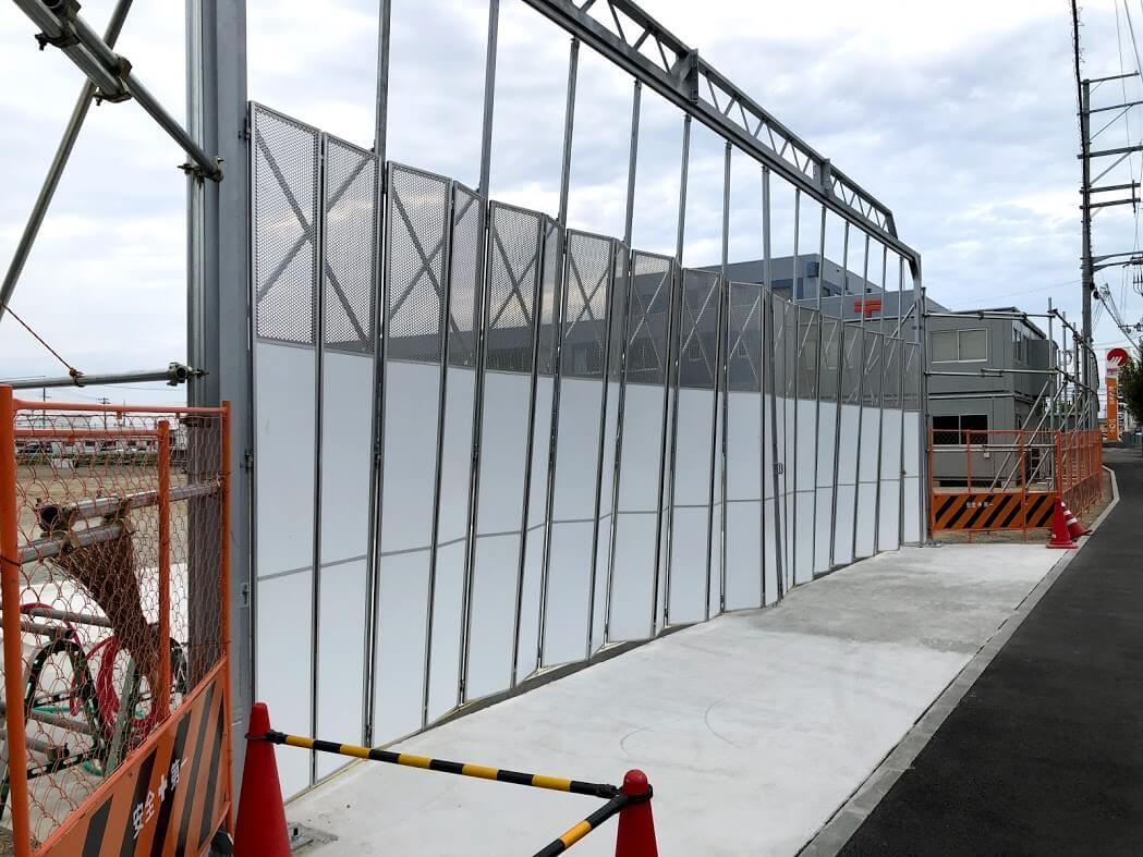 加古川東市民病院跡地の工事現場の西側の入り口