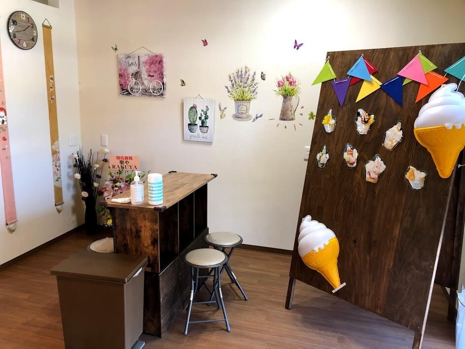 くりーむ堂店内の飲食スペース