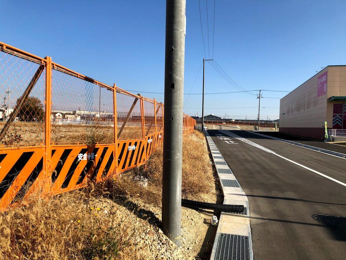 (仮称)加古川市平岡町高畑計画の予定地とダイソーハローズ東加古川店