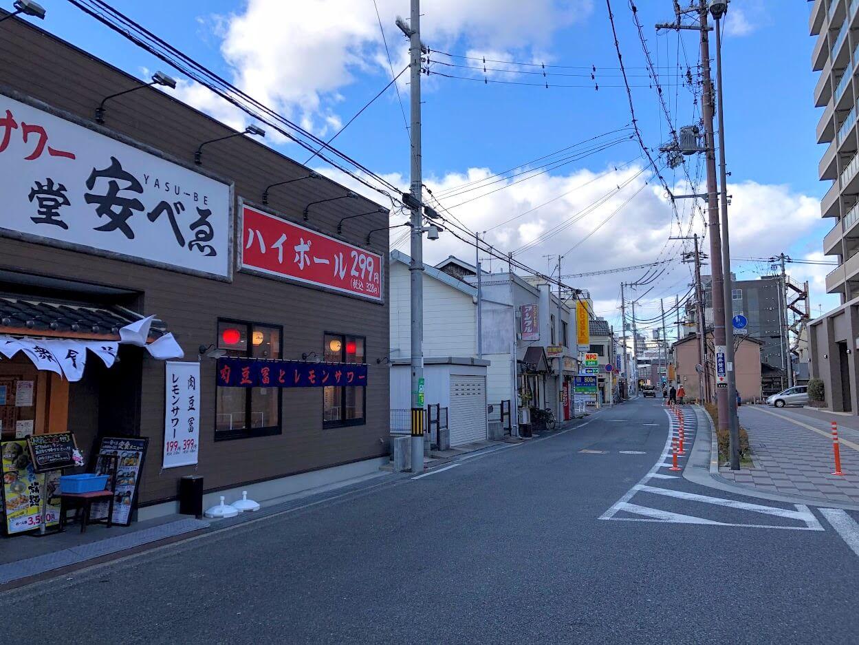 加古川駅南の西行き一方通行