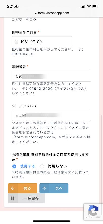 申請内容の入力