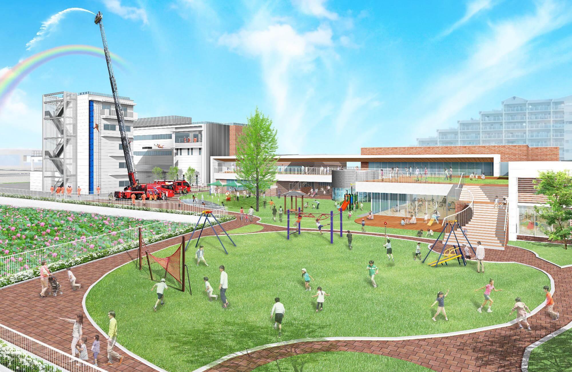 東加古川公民館と東加古川子育てプラザの外観イメージ