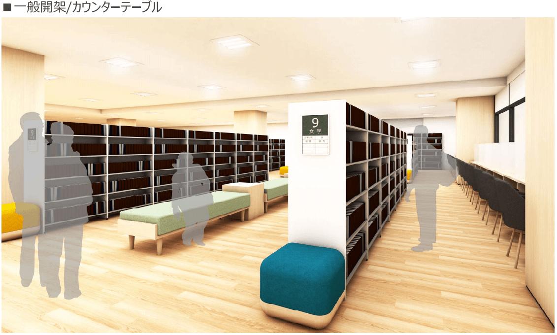 新しい加古川図書館の一般開架/カウンターテーブル