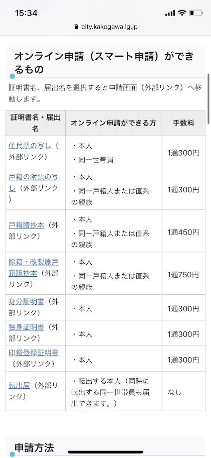 加古川市のスマート申請のページ
