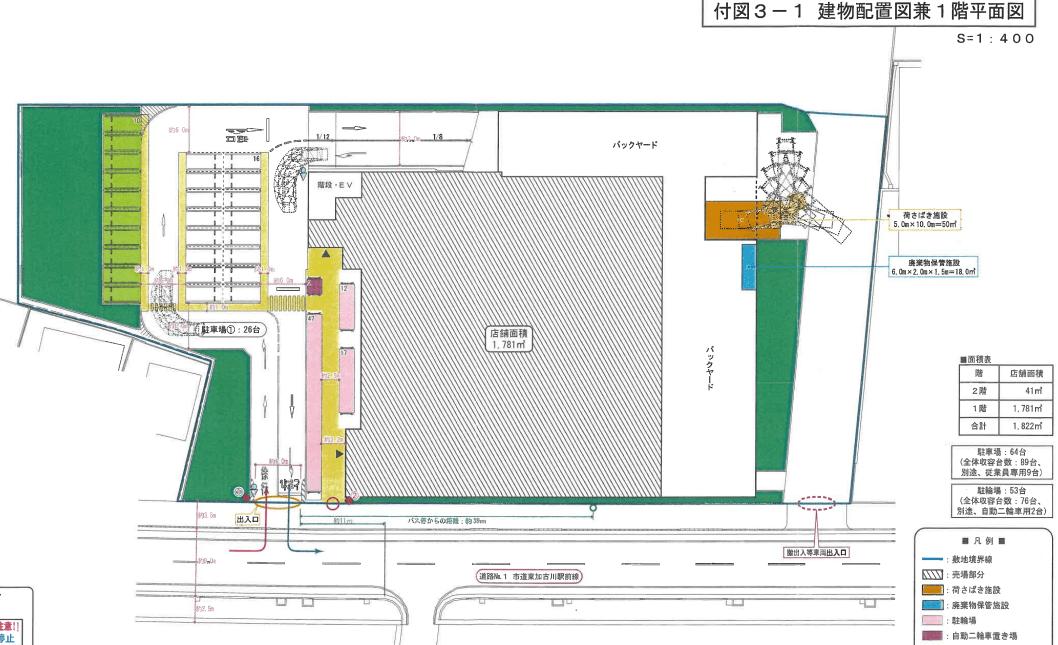 (仮称)スーパーマルハチ加古川平岡店1階平面図