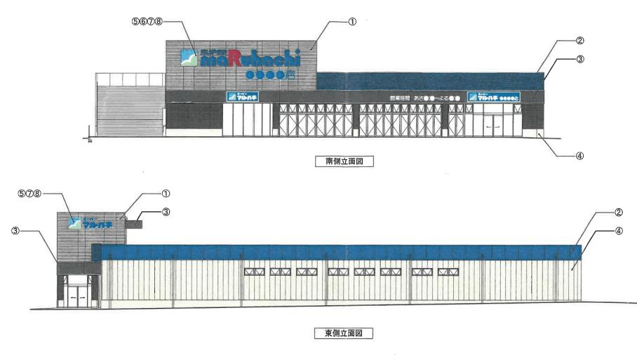 (仮称)スーパーマルハチ加古川平岡店立面図